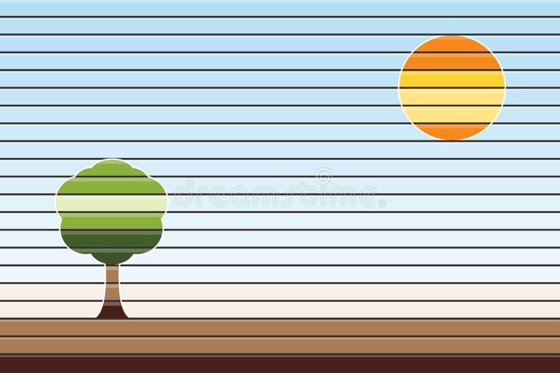 Paisaje abstracto del verano, sol con el árbol en el fondo del cielo azul, ejemplo del vector libre illustration