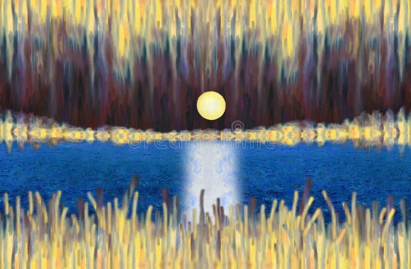 Paisaje abstracto fantástico con un lago y una Luna Llena de levantamiento stock de ilustración