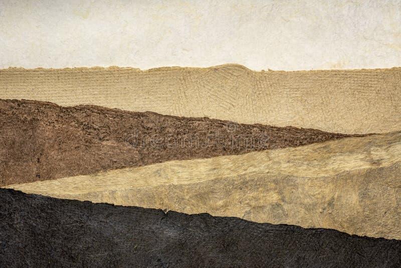 Paisaje abstracto - fije de hojas de papel texturizadas imagen de archivo