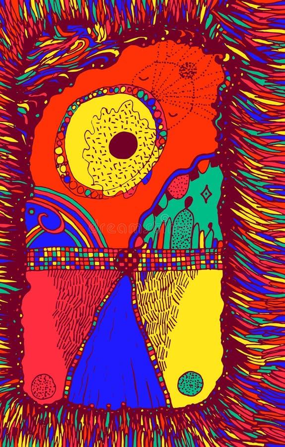 Paisaje abstracto surrealista - carretera, arco iris, sol, hierba Colorido fondo psicodélico de doodle Ilustración del vector ilustración del vector