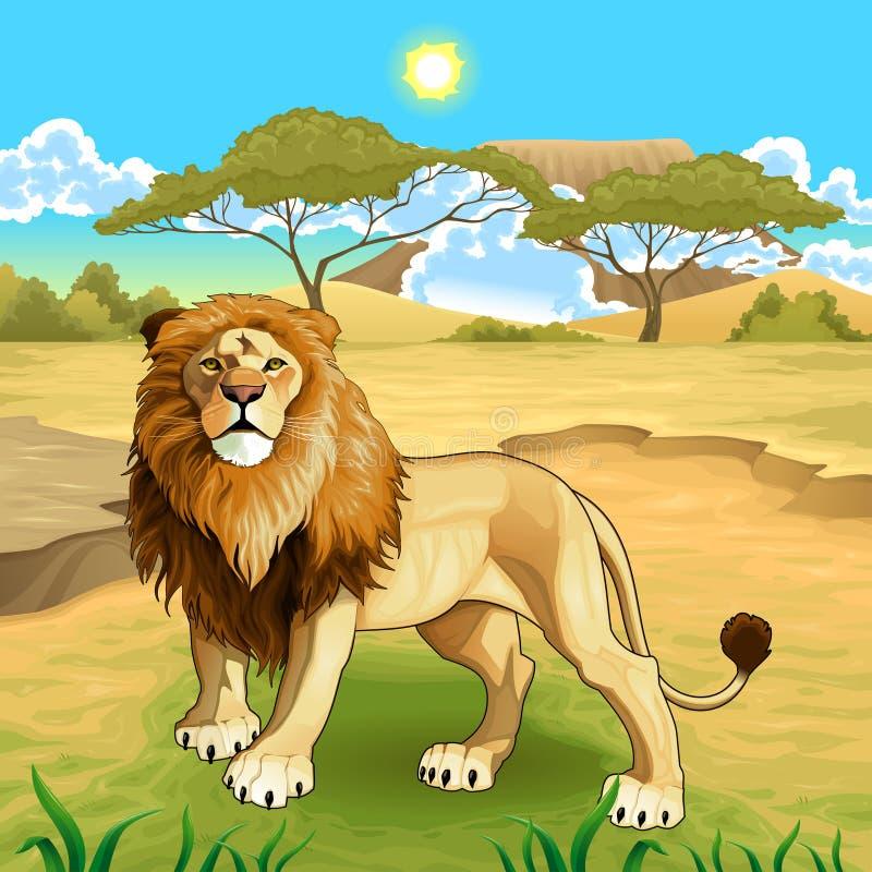 Paisaje africano con el rey del león ilustración del vector