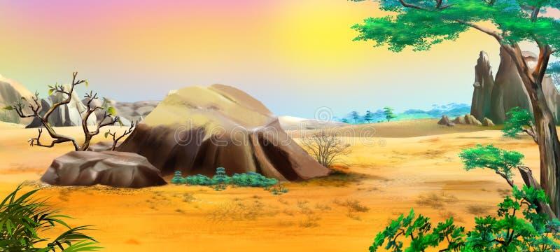 Paisaje africano con las piedras grandes libre illustration