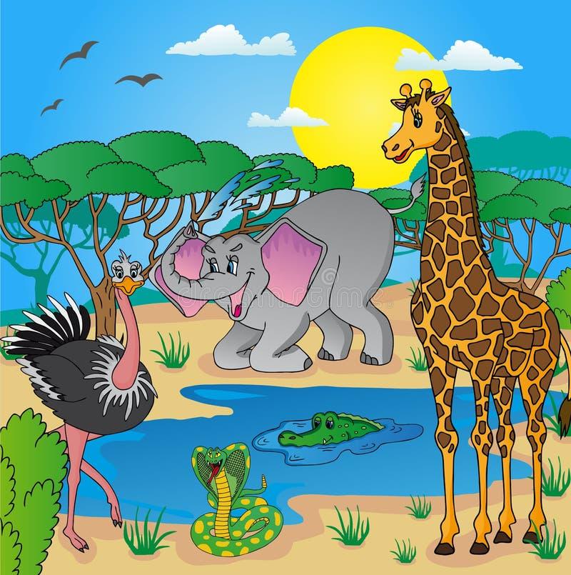 Paisaje africano con los animales ilustración del vector