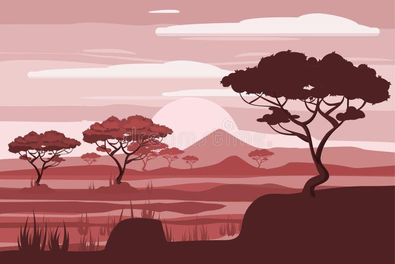 Paisaje africano, león, sabana, puesta del sol, vector, ejemplo, estilo de la historieta, aislado libre illustration