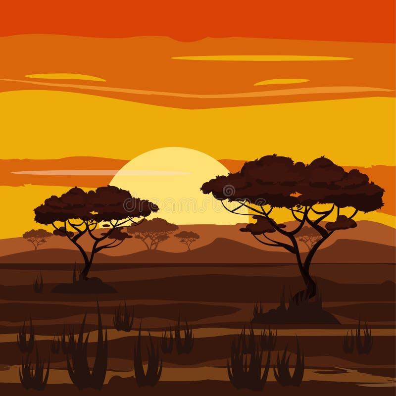 Paisaje africano, puesta del sol, sabana, naturaleza, árboles, desierto, estilo de la historieta, ejemplo del vector ilustración del vector