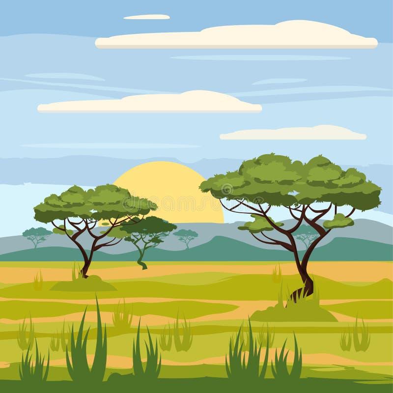 Paisaje africano, sabana, naturaleza, árboles, desierto stock de ilustración