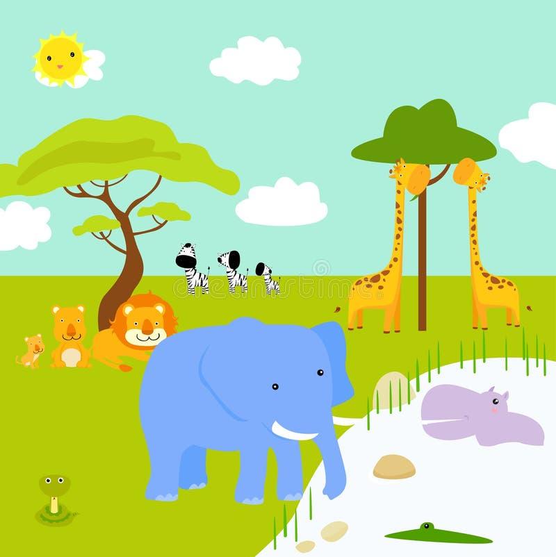 Paisaje africano y animales stock de ilustración