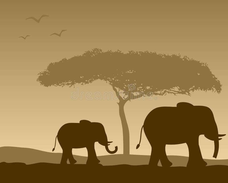 Paisaje africano y elefantes stock de ilustración