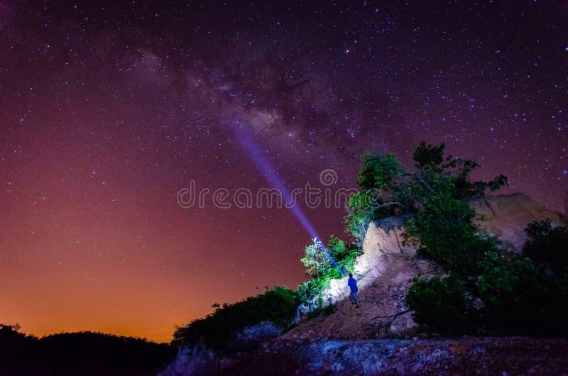 Paisaje agradable en la noche con el milkyway ( La presencia de ruido, de grano y de foco suave es debido a alto ISO) imagenes de archivo