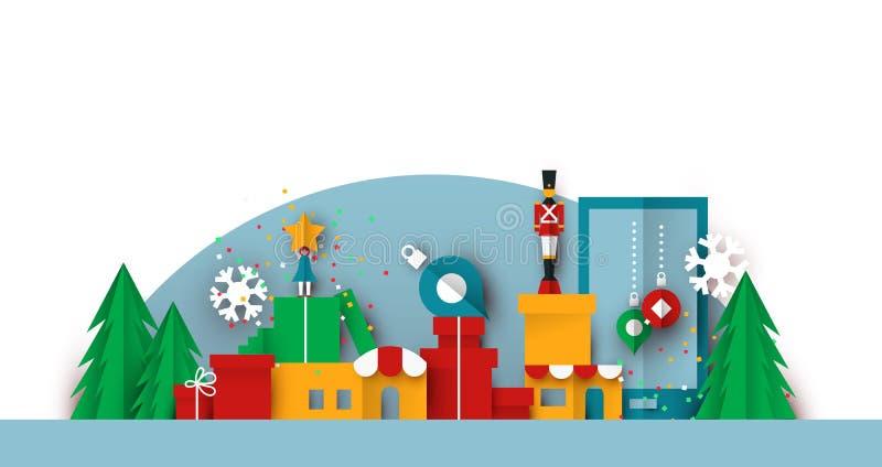 Paisaje aislado de la ciudad del juguete del papercut de la Navidad ilustración del vector