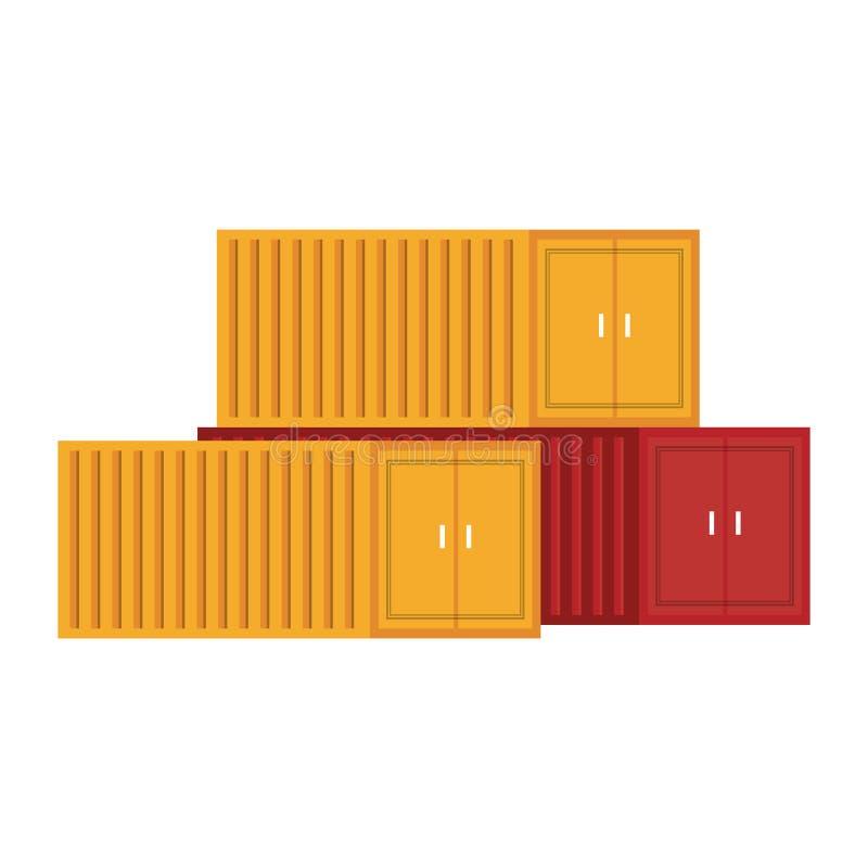 Paisaje aislado envases del carguero del cargo ilustración del vector