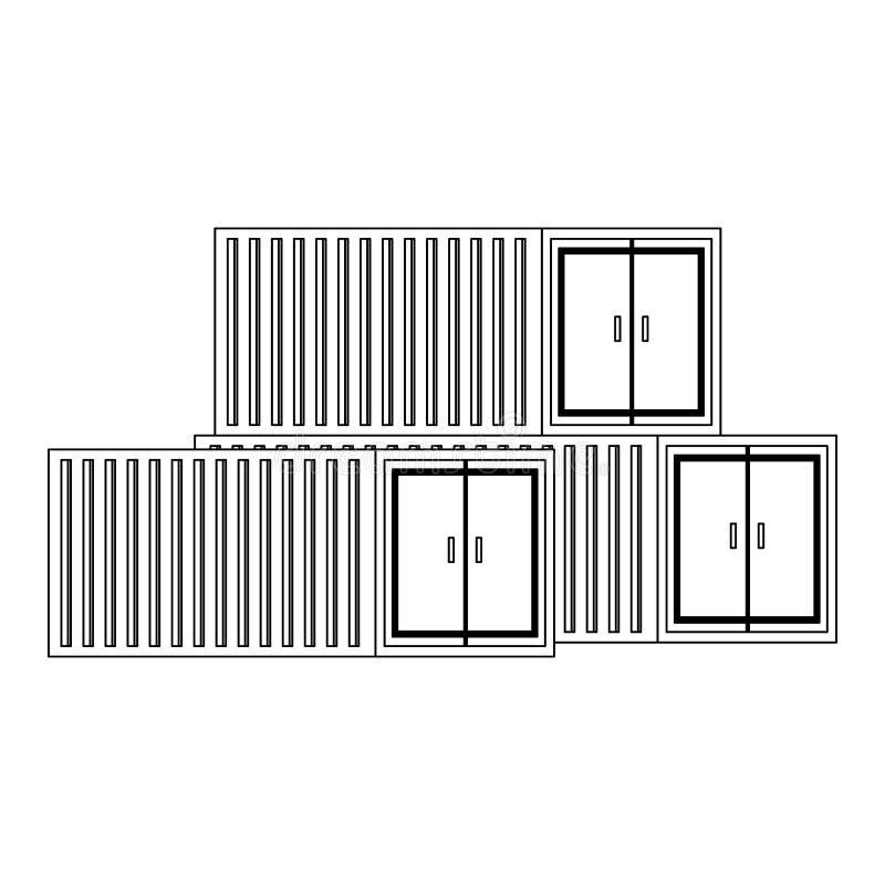 Paisaje aislado envases del carguero del cargo en blanco y negro ilustración del vector