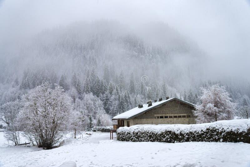 Paisaje alpino del invierno con los árboles y la casa helados imagen de archivo
