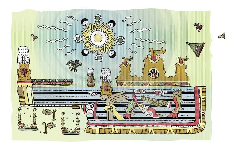 Paisaje apocalíptico con el mar y las montañas en el estilo ornamental de las Mayas erupción Agua bajo la forma de sulfúrico ilustración del vector