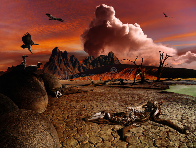 Paisaje apocalíptico de la fantasía fotografía de archivo