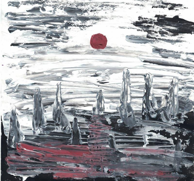 Paisaje apocalíptico pintado con los acrílicos stock de ilustración
