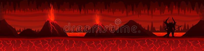 Paisaje ardiendo del infierno con los volcanes y el demonio stock de ilustración