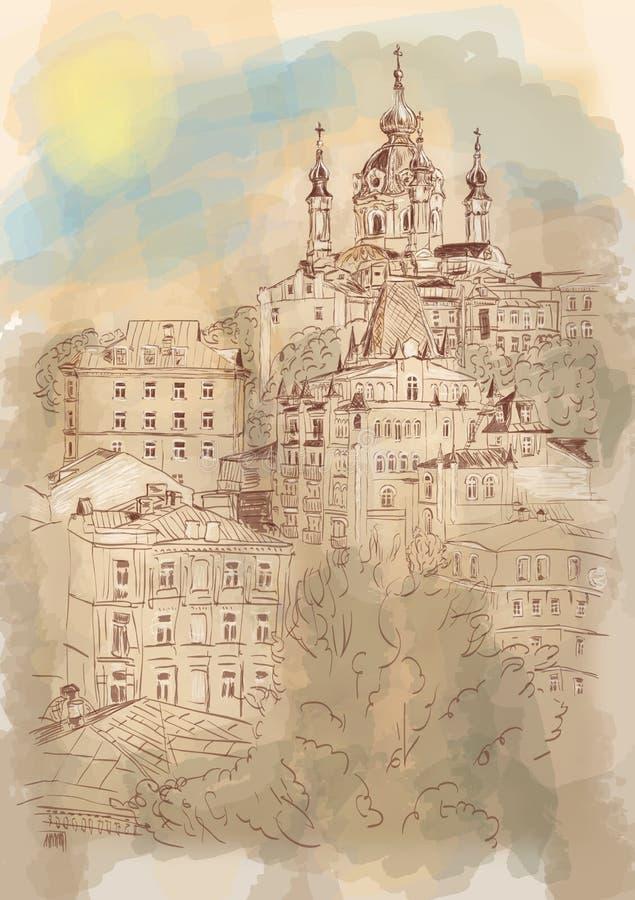 Paisaje arquitectónico urbano, Kiev, Ucrania ilustración del vector
