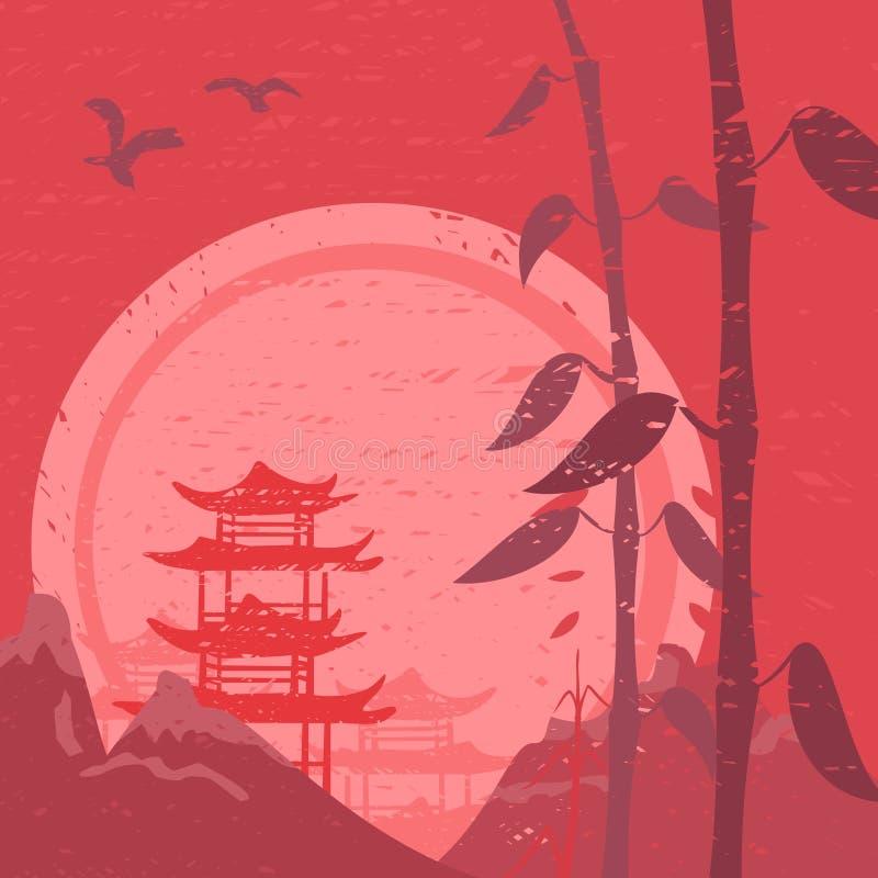 Paisaje asiático stock de ilustración
