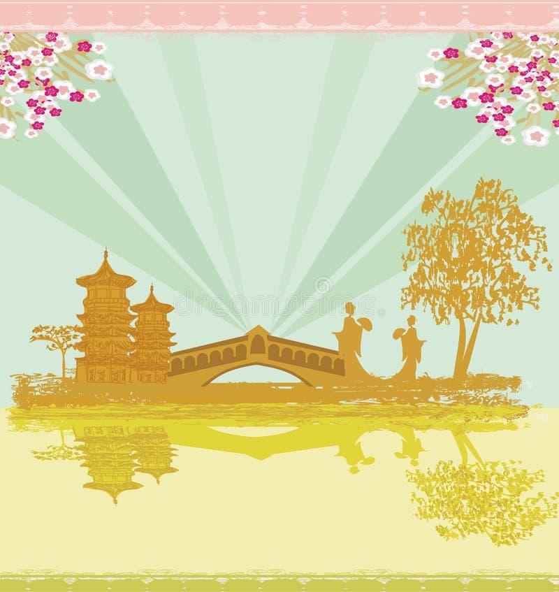 Paisaje asiático abstracto y dos geishas ilustración del vector
