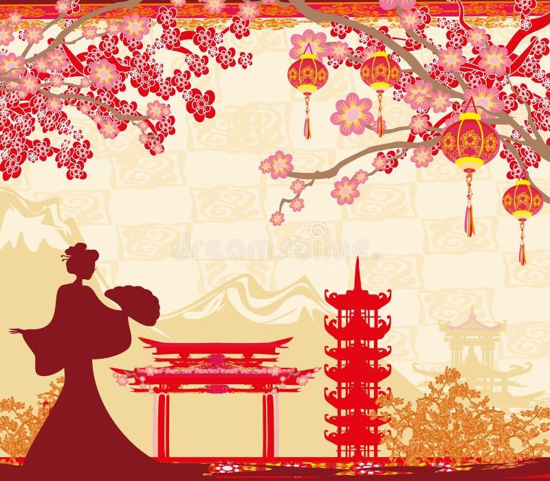 Paisaje asiático abstracto y muchacha asiática ilustración del vector