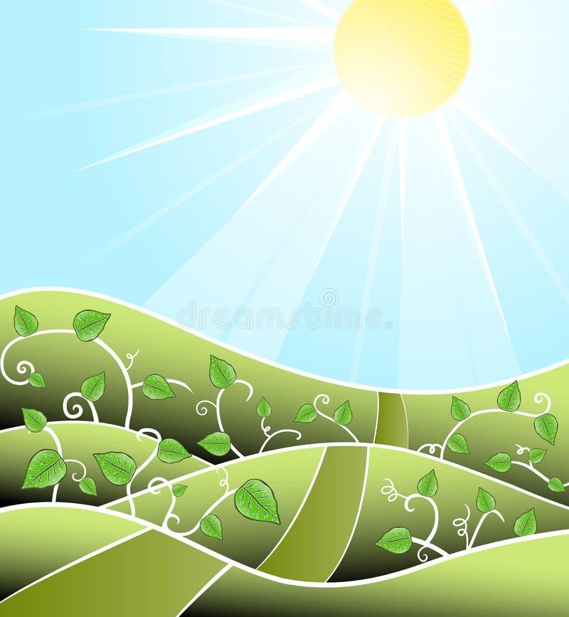 Paisaje asoleado floral de Cartoony ilustración del vector