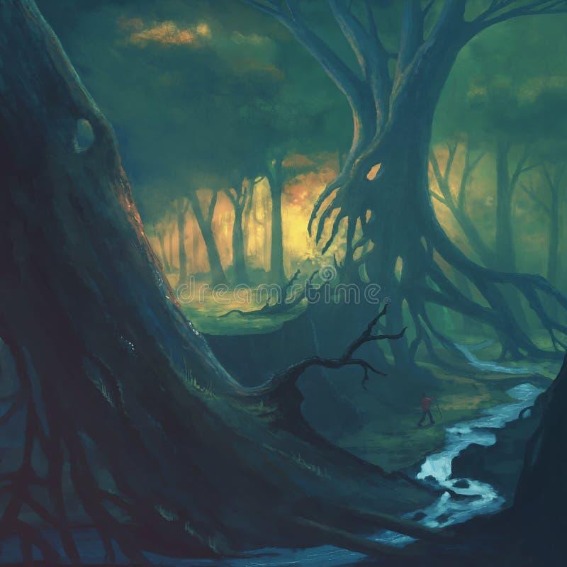 Paisaje asustadizo del bosque libre illustration