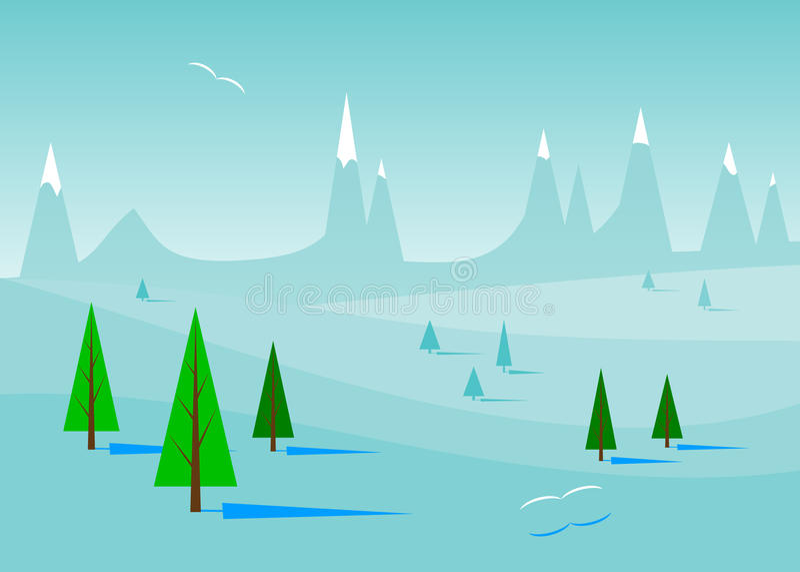 Paisaje azul del invierno libre illustration