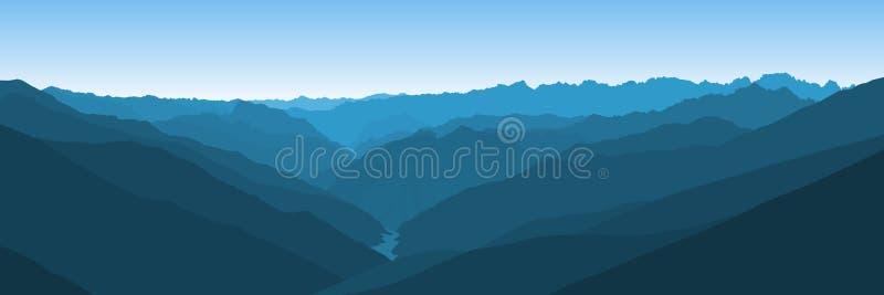 Paisaje azul hermoso del vector con un valle curvy en las montañas de Himalaya libre illustration