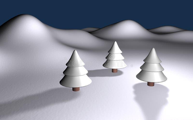 Paisaje blanco del invierno 3d con tres árboles y colinas stock de ilustración