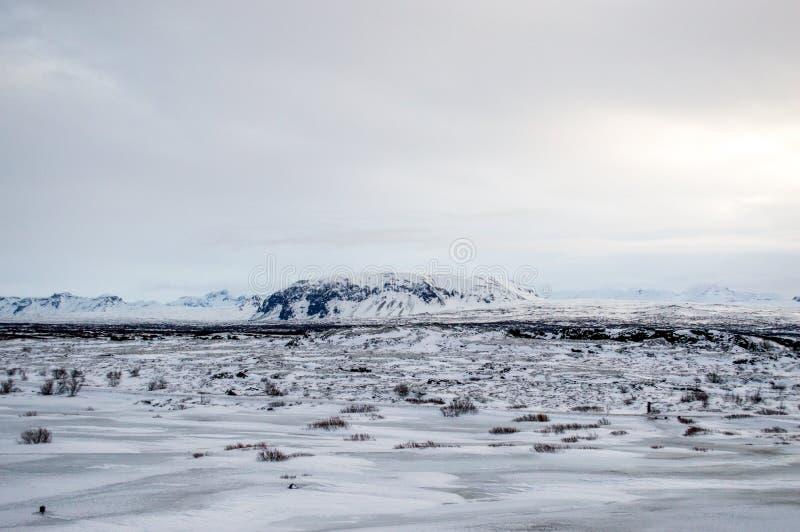 Paisaje blanco del invierno en Islandia imagen de archivo