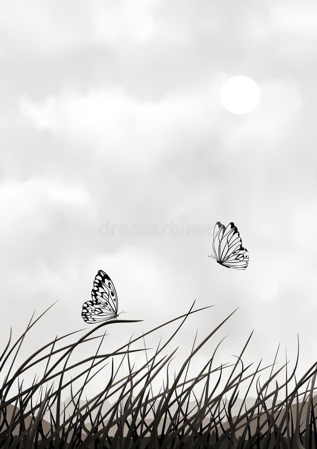 Paisaje blanco y negro del vector con las mariposas ilustración del vector
