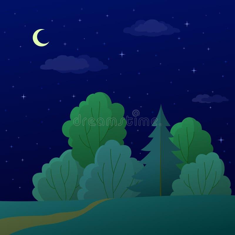 Paisaje, bosque del verano de la noche ilustración del vector