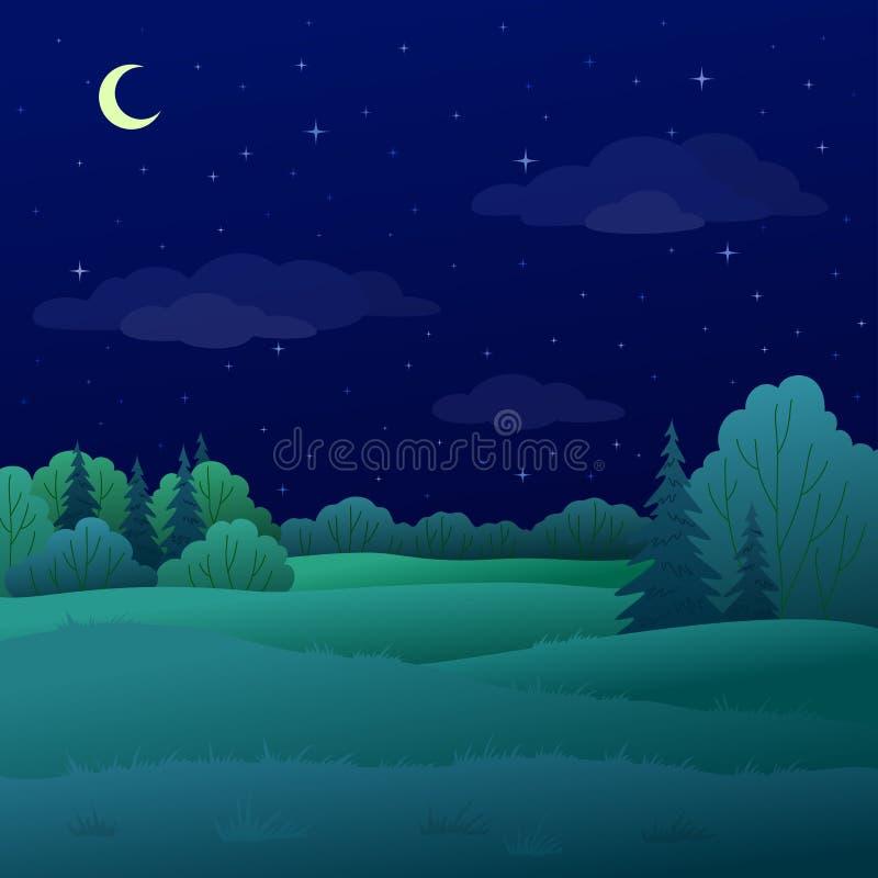Paisaje, bosque del verano de la noche stock de ilustración