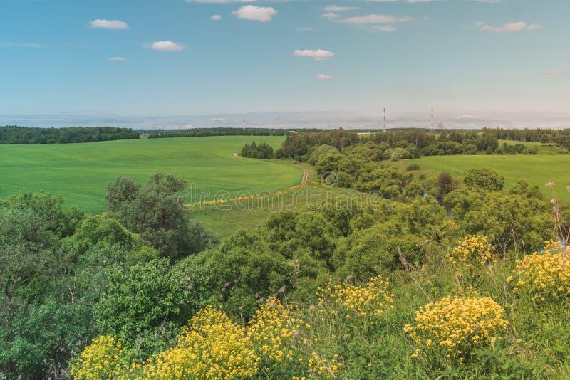 Paisaje brillante colorido de Sunny Summer Country-Road Green Field con el cielo nublado, los árboles y las colinas azules imágenes de archivo libres de regalías