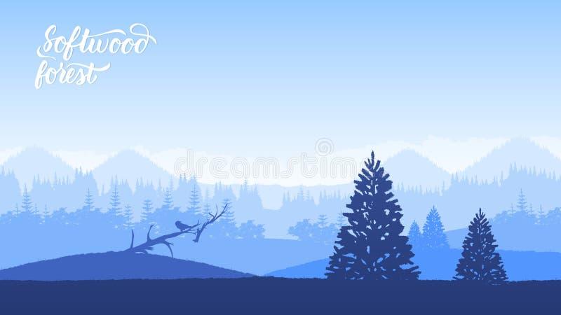 Paisaje brumoso con el bosque del abeto en estilo retro del vintage del inconformista libre illustration