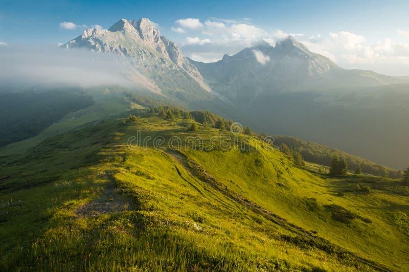Paisaje brumoso de la montaña imágenes de archivo libres de regalías