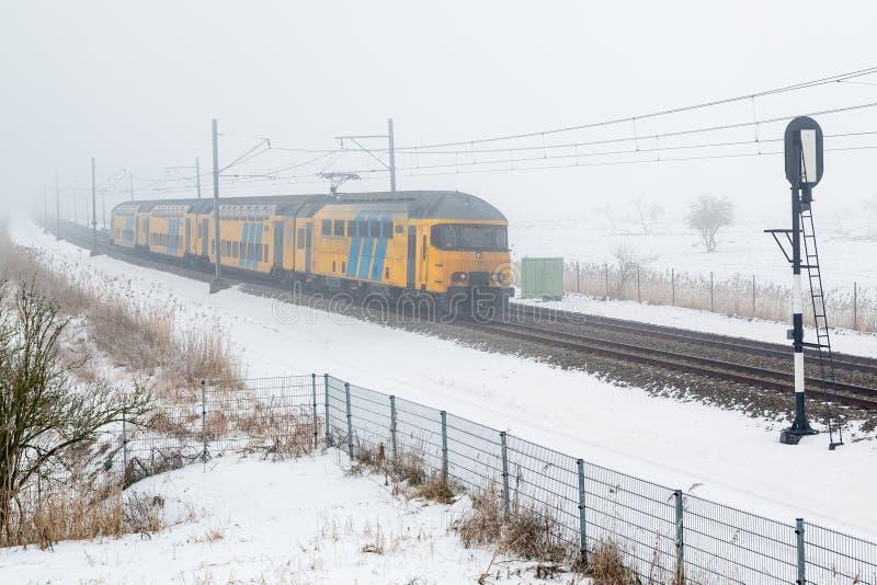 Paisaje brumoso holandés del invierno en parque nacional con el paso del tren foto de archivo libre de regalías
