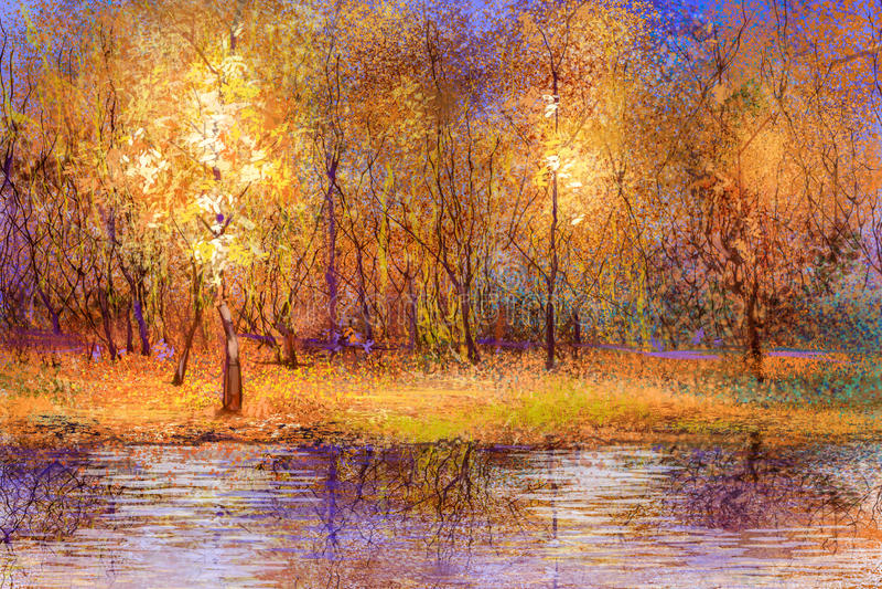 Paisaje caido colorido de las hojas de la pintura al óleo ilustración del vector