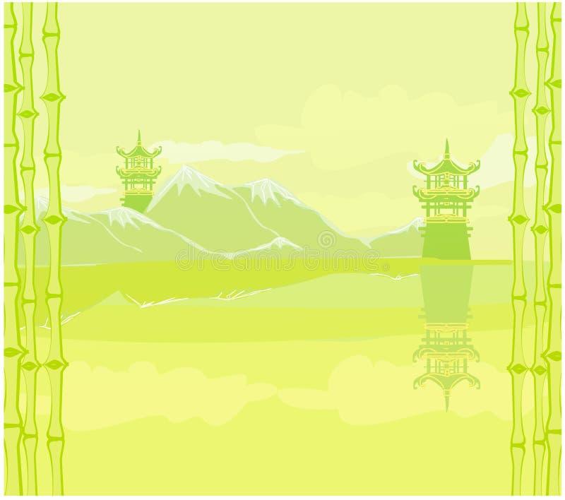 paisaje chino abstracto stock de ilustración