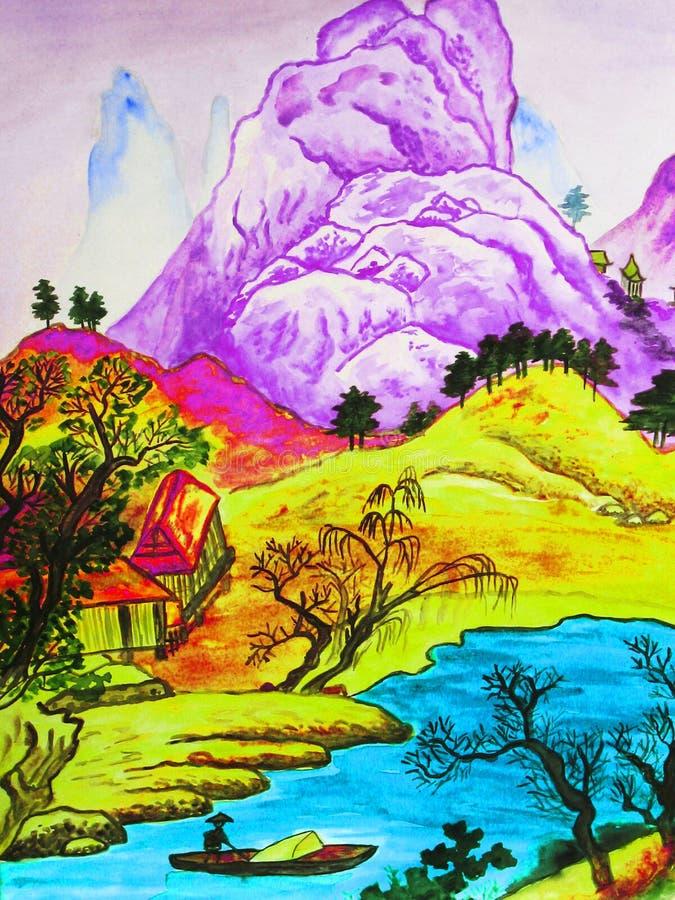 Paisaje chino, pintando stock de ilustración
