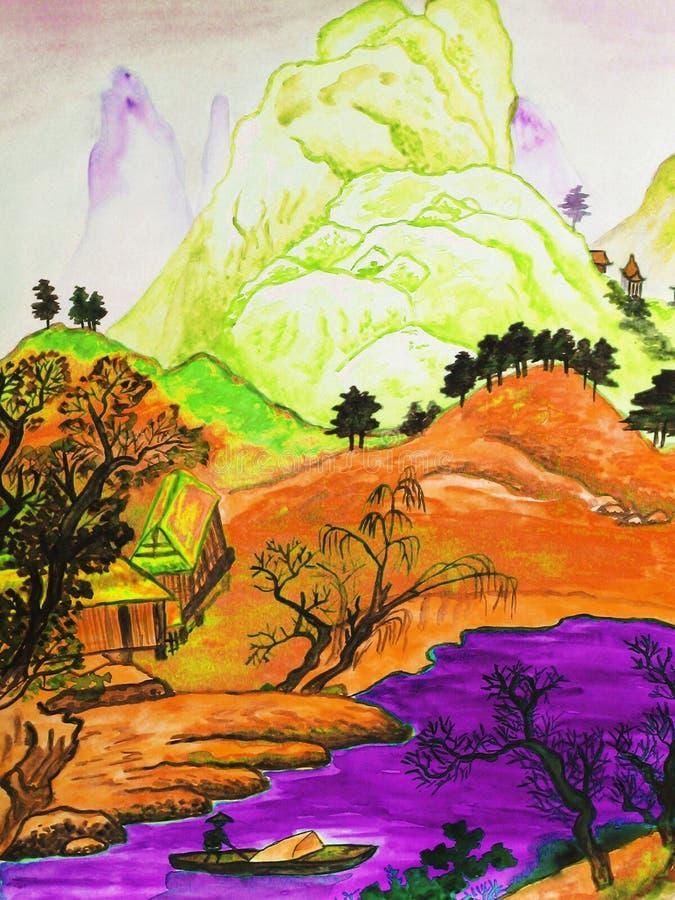 Paisaje chino, pintando ilustración del vector