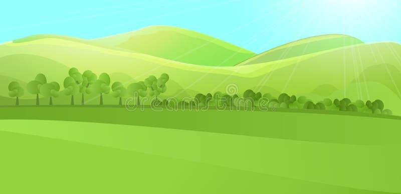 Paisaje claro con la colina verde, montañas, hierba y jardín o bosque del árbol stock de ilustración