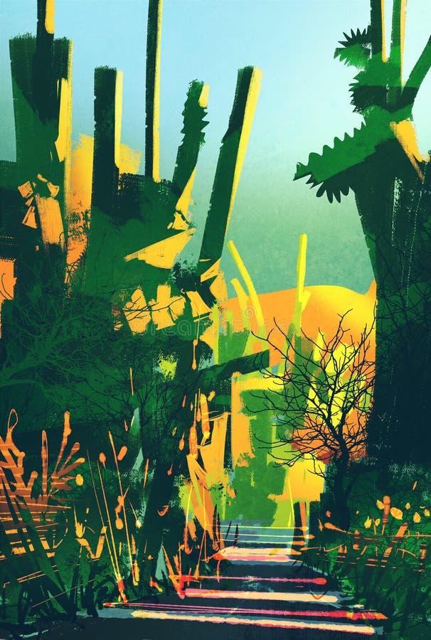 Paisaje colorido abstracto, bosque de la fantasía ilustración del vector