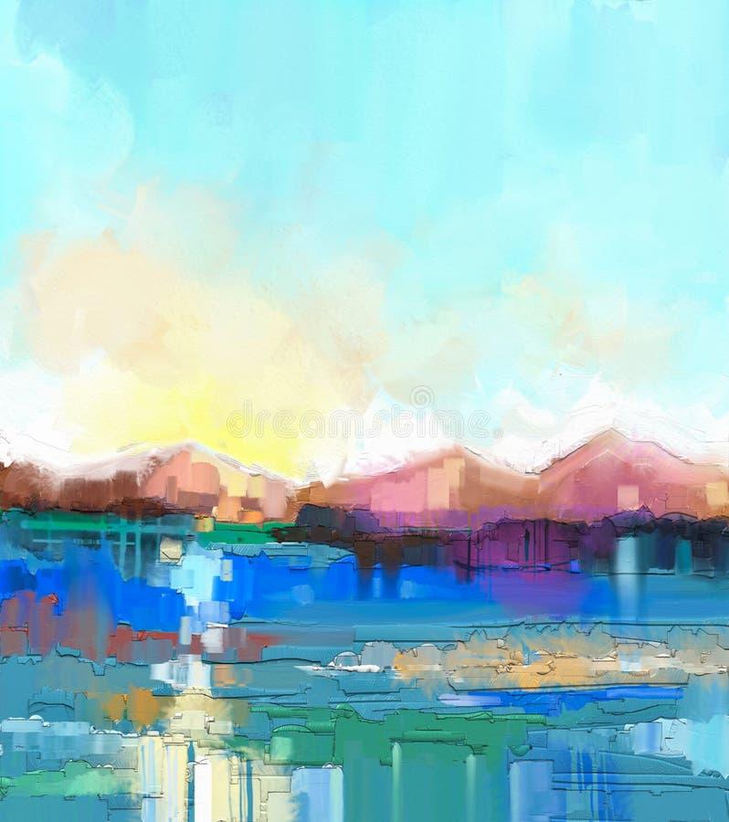 Paisaje colorido abstracto de la pintura al óleo stock de ilustración