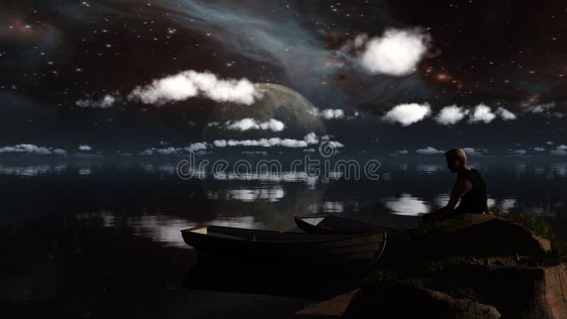 Paisaje colorido con el cielo nocturno con las estrellas y la silueta de a ilustración del vector