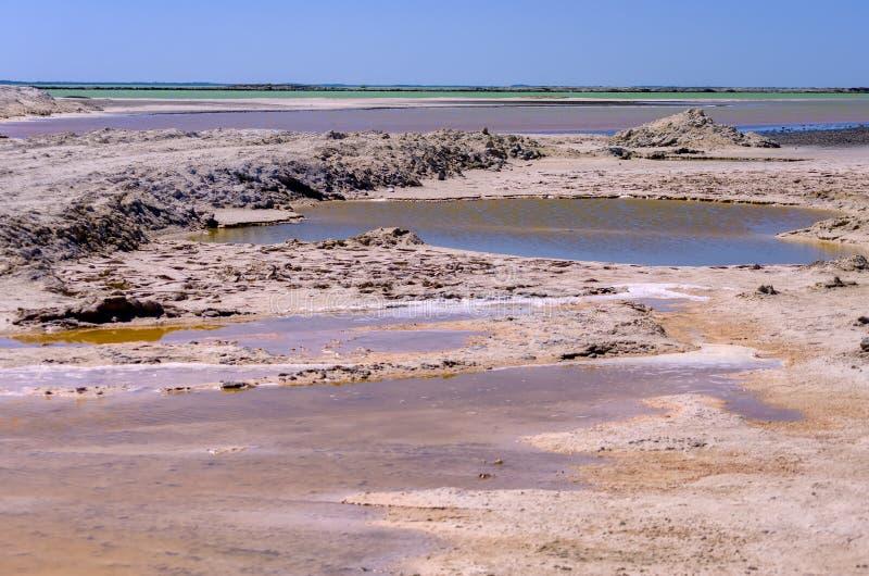 Paisaje colorido con las piscinas de la sal en Rio Lagartos fotos de archivo libres de regalías