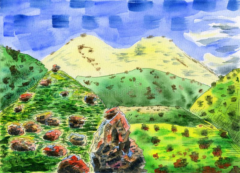 Paisaje colorido de la montaña con una montaña nevosa grande stock de ilustración