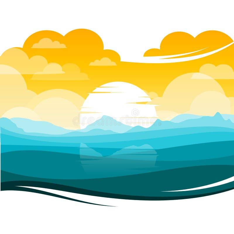 Paisaje colorido de la silueta de la puesta del sol/de la salida del sol stock de ilustración