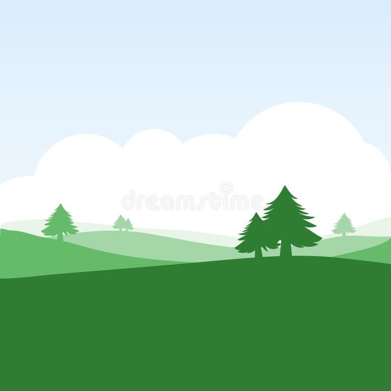 Paisaje colorido de la silueta del campo stock de ilustración